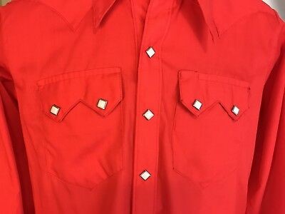 Vintage Rockmount Ranch Wear Western Shirt Red Sawtooth Diamond Pearl Snaps S/M