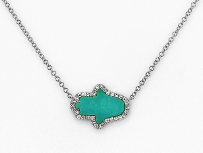 14K Turquoise Inlay Hasma Hand Necklace