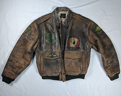 b5823ebe5ff VTG 1987 AVIREX Type A-2 Distressed Leather Bomber flight Jacket Ace ...