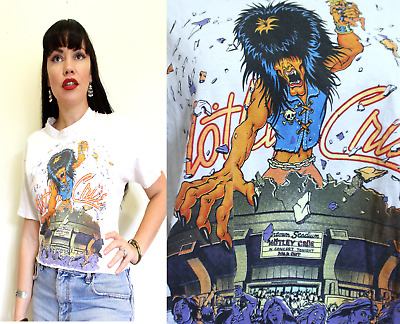 MOTLEY CRUE VINTAGE T Shirt Tee 80s Kickin Ass Wild side of town wt4 music band