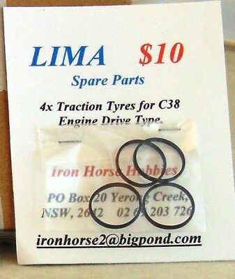 Lima Model Trains 4x Traction Tyres for C38 Engine Drive Locomotive only. New.