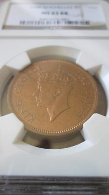 Seychelles 5 Cents 1948 NGC MS 63 RB