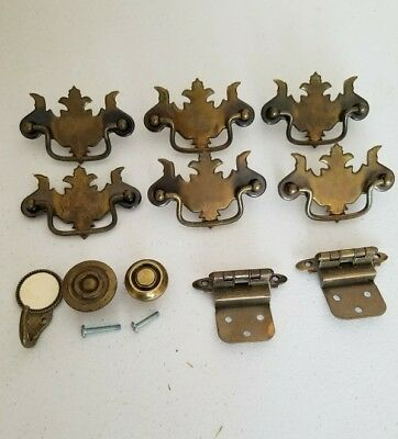 Lot of 11 pieces mixed Vintage Antique Brass Drawer Pulls - colonial hardware