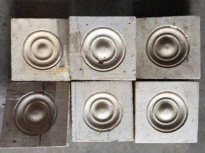 5 Antique Victorian Rosette Wood Plinth Blocks Bullseye Architectural Salvage 5""