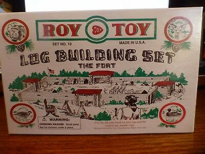 Roy Toy Log Building Set No.10 The Fort Wooden Logs Compatible W/ Lincoln Logs