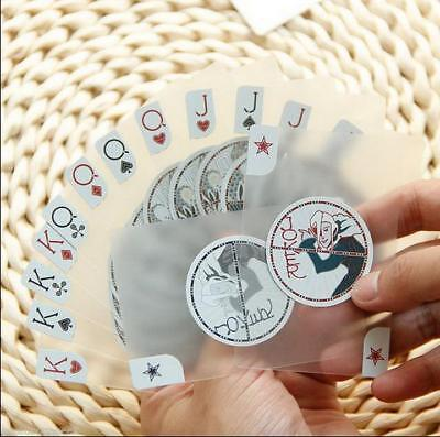 PVC Waterproof Invisible Translucent Cards Plastic Playing Texas Poker Card L ゃ