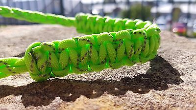 Archery Bow Sling 550 Paracord  lime green reflective  + 3 zipper pulls