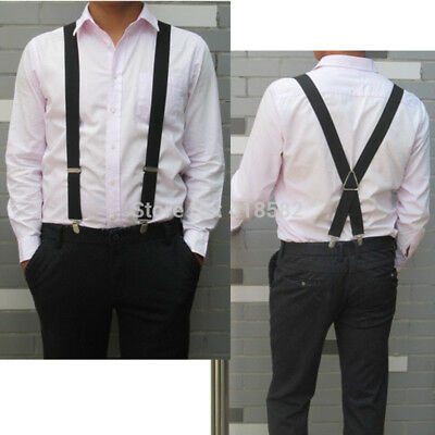 Men XL Learge Size 3.5 Width 4 Clips Suspenders Adjustable Elastic X Back Women