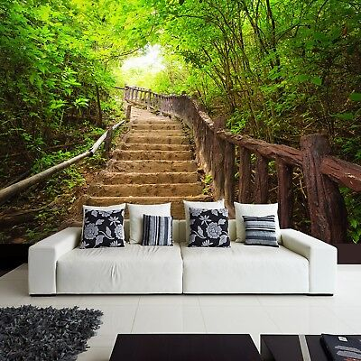 Wallpaper Fleece Photo Natural Green Landscape in Free Stairs to Forest