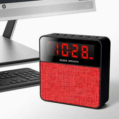 Portable Wireless Bluetooth Stereo Speaker FM LED Alarm Clock USB MP3 Player UK