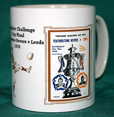 FEATHERSTONE v LEEDS.CUP FINAL 1970.RETRO DESIGN RUGBY MUG.GREAT GIFT.NEW.BNIB