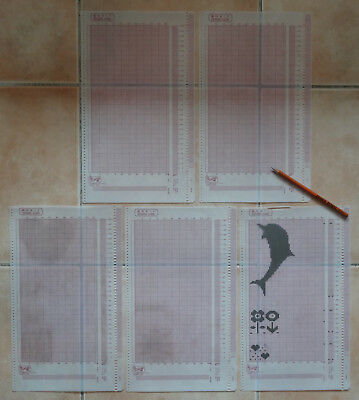 5 CARTES MYLARS + CRAYON pour MACHINE A TRICOTER EMPISAL KNITMASTER ELECTRONIC