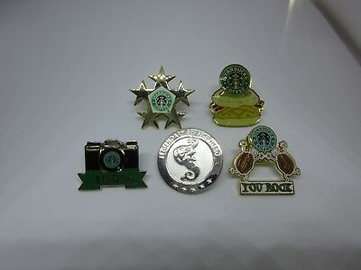 Starbucks Coffee Employee Barista Reward Award Apron Pins Set of 5 Rare NEW 1""