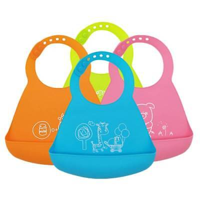 New Baby Silicone Waterproof Bib Washable Roll Up Crumb Catcher Feeding Eating