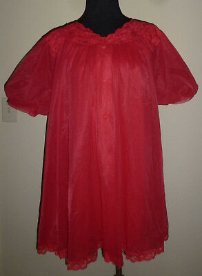 VTG 60s Shadowline Red Baby Doll Nightie & Peignoir Double Layer Nylon M Med