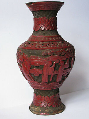 Antique (1800's) Chinese Cinnabar Carved Vase Red Lacquer - Very OLD, Beautiful