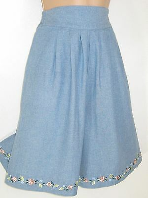 Laura Ashley Vintage Blue Marl Floral Garland Embroidered Culottes/shorts, 10
