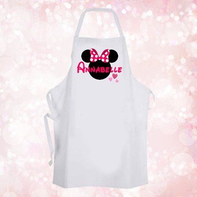 Personalised Minnie Mouse Apron Pink Hearts Baking Cooking Birthday Gift DE1