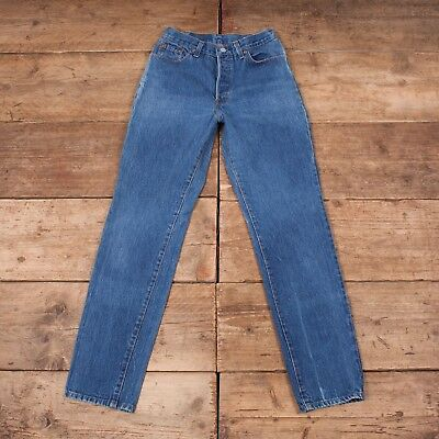 "Womens Levis Red Tab 501 1980s Blue Denim Mom Jeans USA Made 28"" x 32"" R7504"