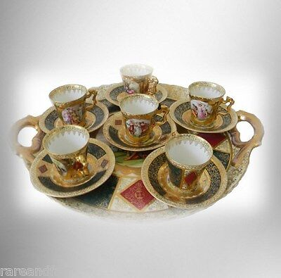 Royal Vienna LARGE tray with six cups and saucers - victorian scenes and gold