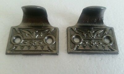 Pair Of Antique Cast Iron Window Lifts Sash Lifts Cleaned #(238B)