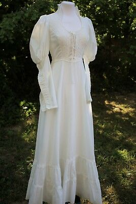 1970s GUNNE SAX White Victorian Corset Styling Ornamental  Sleeve Bridal | Small