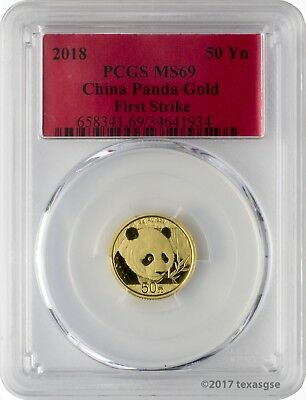 2018 50 Yuan China Gold Panda 3 Gram .999 Gold Coin PCGS MS69 First Strike