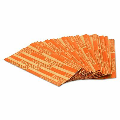 MMF Industries Pop-Open Flat Paper Coin Wrappers, Quarters, Orange, 1000 per Box