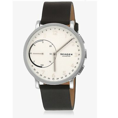 Skagen Connected SKT1101 Hagen Hybrid Smartwatch Black Leather Band 42MM NEW