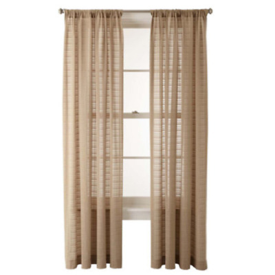 JCPenney Home One Bayview Grommet-Top Sheer Curtain Panel 50inX108in White New