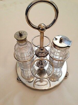 """Antique Silver Plated & Glass Part Cruet Set with Makers Stamp on Base """"TS Bros"""""""