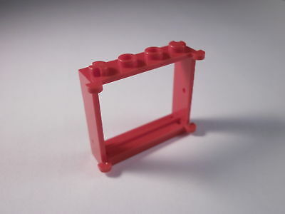 Lego part no 3853 Window Frame 1 x 4 x 3 in Red Door Hinges Red Legoland Sets