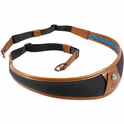 4V Design ALA Canvas and Leather Ring Fit Camera Neck Strap in Black/Brown