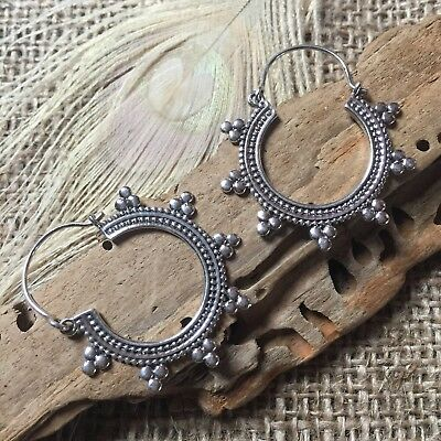 Sterling Silver Tribal Gypsy Indian Hoop Earrings Small 19 X 26mm Traditional