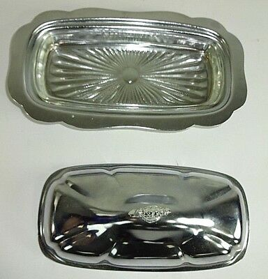 Vintage MCM - Silver Tone Metal Covered Butter Dish & Sunburst Glass Liner Tray