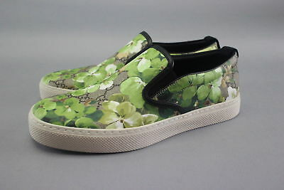 New $550 Gucci Green Floral Bloom GG Coated Canvas Slip-On Sneakers Size 6.5