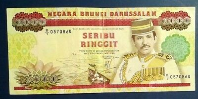 BRUNEI: 1 x 1,000 Ringgit Banknotes (1989) - Very Fine Condition (pinholes)
