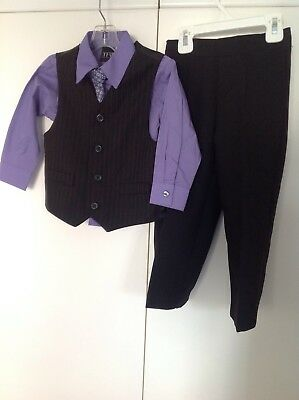 TFW 4pc Outfit Purple Dress Shirt w/coord Tie Black Vest & Pants Boys Sz 3