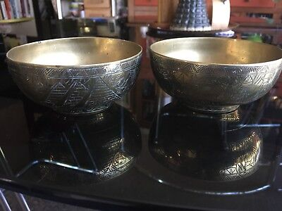 Vintage Pair Egyptian Solid Brass Bowls Engraved Snakes Pyramids Camels Sphinx
