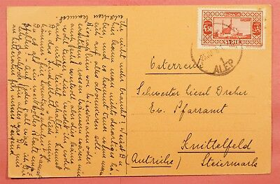1936 Syria Alep Cancel Postcard To Austria