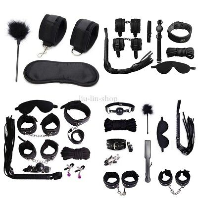 Rope Set Collar Whip Handcuffs Ankle Cuffs Eye Mask Black Restraints PU leather