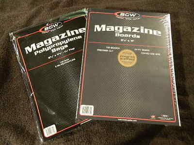 100 New BCW Magazine Bags And Boards - Acid Free - Archival Magazine Storage