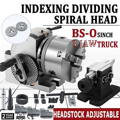"New BS-0 Precision Dividing Head With 5"" 3-jaw Chuck & Tailstock For CNC Milling"