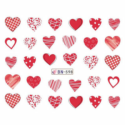 Nail Art Water Decals Stickers Transfers VALENTINES Day Love Hearts BN598 CN