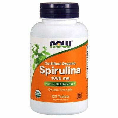 Organic Spirulina 120 Tabs 1000 mg by Now Foods
