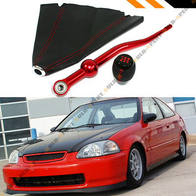 For 1988-2000 Honda Civic Red Dual Bend Short Shifter + Shift Knob +Leather Boot