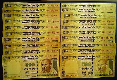 INDIA: 20 x 500 Rupee Banknotes - Very Fine Condition