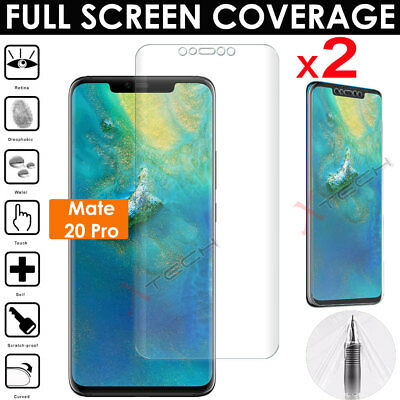 2x FULL SCREEN Curved Fit TPU Screen Protector Covers For Huawei Mate 20 Pro