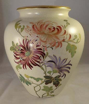 "Antique Doulton Faience Hand Painted Gilded 8"" Floral Vase VGC c1900"