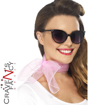 Pink Ladies 50s Neck Scarf Ladies Grease Fancy Dress Costume Accessory Hen Party